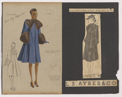 Colored Sketch and Newspaper Clipping of Ls Ayres & Co Ad for Coat with Fur Bow at Neck
