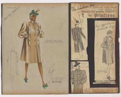 Colored Sketch and Newspaper Clippings of the Lindner Coy and Saks Fifth Avenue Ads for Balmacaan Type Coat