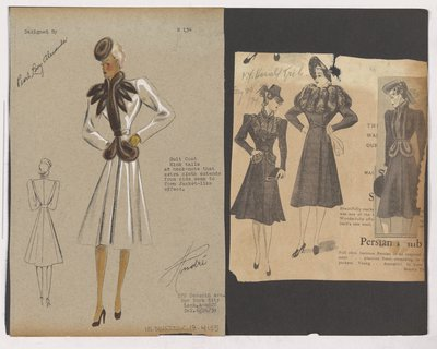 Colored Sketch and Newspaper Clippings of Ads for Coat with Fur Collar and Closing