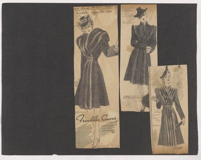 Newspaper Clippings of Franklin Simon'S, Mabley's and Hudson Ads for Coat with Fur down Front