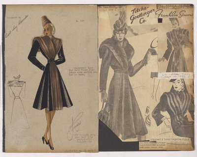 Colored Sketch and Newspaper Clippings of Ads for Wraparound Coat