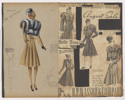 Colored Sketch and Newspaper Clippings of Ads for Coat with Fur Collar To Waist