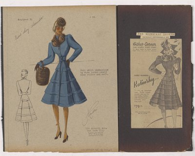 Colored Sketch and Newspaper Clipping of Bitker-Genner Ad for Coat with Full Skirt and Wide Tucks