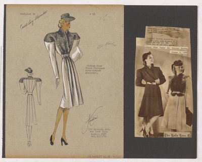 Colored Sketch and Newspaper Clipping of Halle Bros Co Ad for Coat with Draped Shoulder
