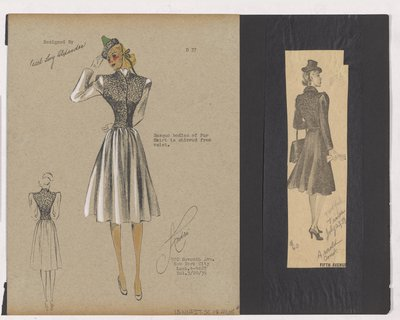 Colored Sketch and Newspaper Clipping of Arnold Constable's Ad for Coat with Fur Bodice