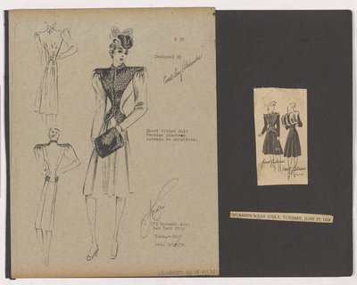 Black & White Sketch and Newspaper Clipping of Ad for Coat with Fur Plastron