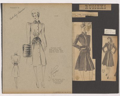 Black & White Sketch and Newspaper Clippings of Russeks Ads for Coat with Fur Peplum