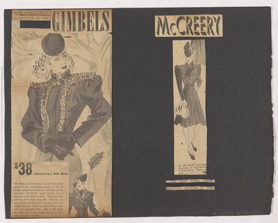 Newspaper Clippings of Gimbels and Mccreery's Ads for Coat with Fur Strips on Bodice