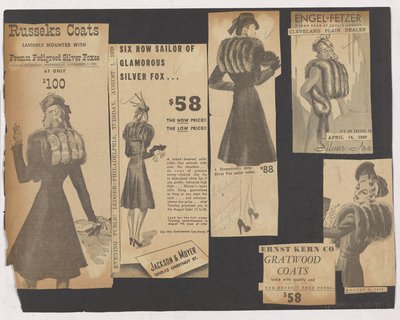Newspaper Clippings of Ads for Coat with Fur Sailor Collar