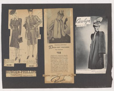 Newspaper Clippings of Ads for Suits and Magazine Ad for Coat