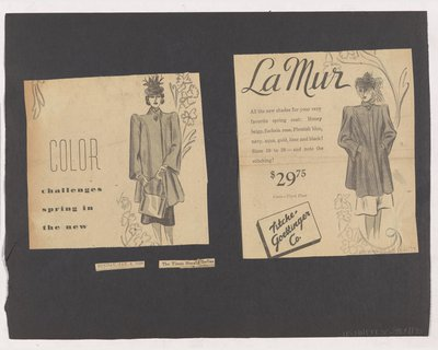 Newspaper Clippings of Ads for Boxy Coat with Single Button
