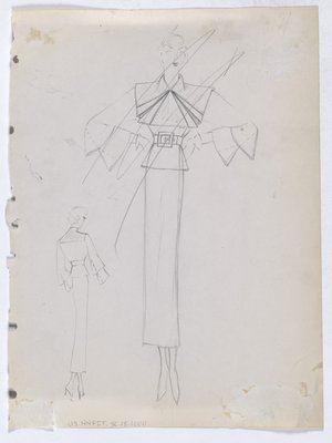 Jacket with Square Collar with Folds and Layered Sleeve (Scratched Out)