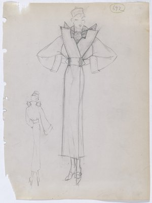 Coat with Scarf Collar and Four Points on Shoulder