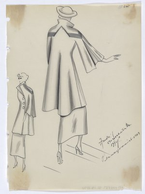 Coat with Lines Across Back and Shoulder, with Full Sleeve