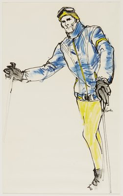 Male in Blue and Yellow Ski Outfit