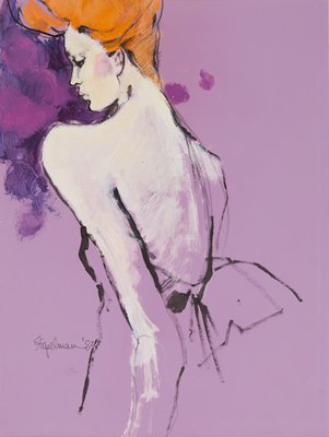 Cropped Backview Figure on Purple Paper