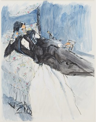 Reclining Man in Tux with Champagne