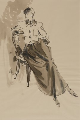 Seated Figure in Short Jacket and Dirndle Skirt