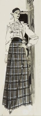 Diptych A, Figure in Long Plaid Skirt