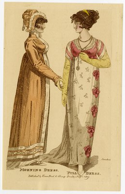 Two Women in Morning Dress and Full Dress