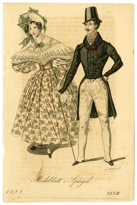 Woman in Lace Pelerine and Man in Double-Breasted Coat