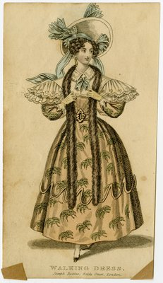 Woman in Walking Dress and Bonnet