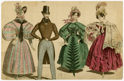 Fashion Plate with Three Women and One Man