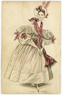 Opera Dress with Lace Bertha Collar