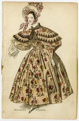 Woman in Floral Walking Dress