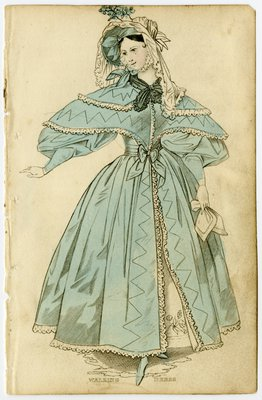 Walking Dress and Bonnet with Veil