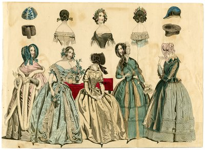 Row of Hats and Hairstyles above Five Women