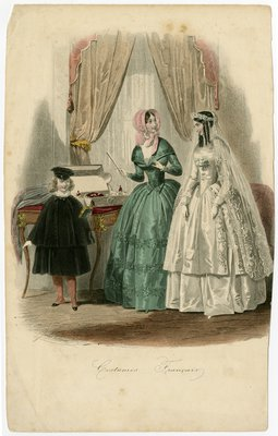 Bride Accompanied by Woman and Boy