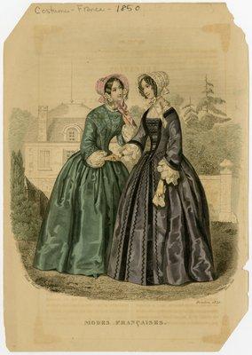Two Women in Bonnets Outside a Building