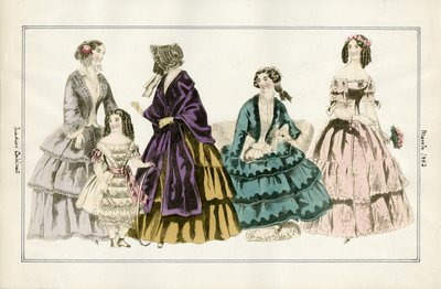 Four Women and a Child in March Fashions