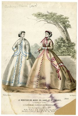 Two Women in Dresses and Lace Caps