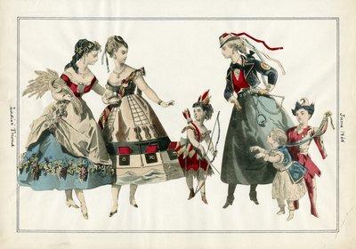 Six Figures in Costume Dress