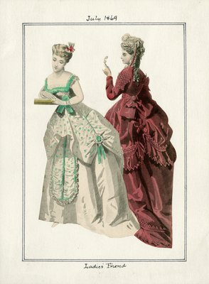 Two Women in Swagged and Draped Dresses