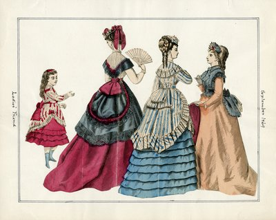 Three Women and a Child in September Fashions