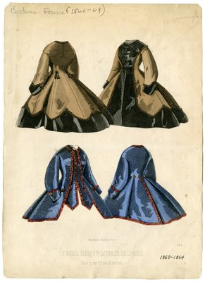 Fashion Plate from Le Monde Elegant Courrier De La Mode, Circa 1860