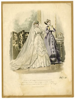 Bride Accompanied by Woman Adjusting Her Cap
