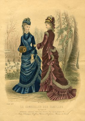Two Women Out Walking in January Fashions