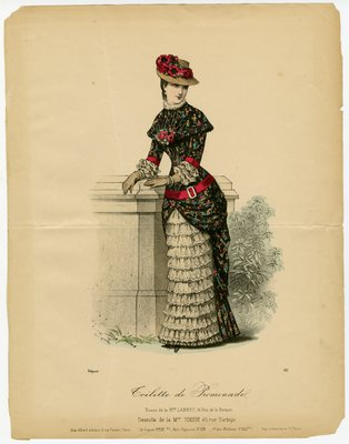 Woman in Walking Dress and Poppy Hat