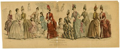 Group of Women and Girls with 3 Inset Images of Back Views