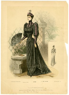Woman in High-Neck Black Gown