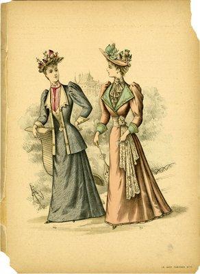 Two Women Walking in Gardens