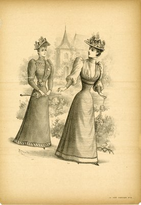 Two Women Walking a Garden Path