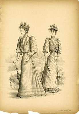 Two Women Strolling on Garden Path