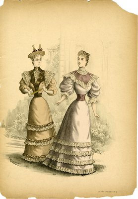 Two Women in Lace Flounce Dresses