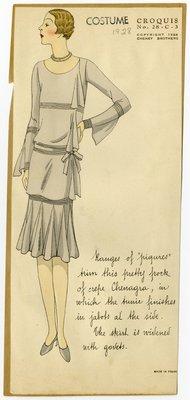 Woman in Dress of Crepe Chenagra