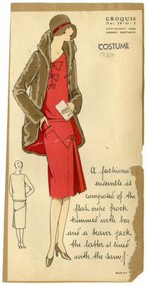 Woman in Crepe Dress and Beaver Jacket